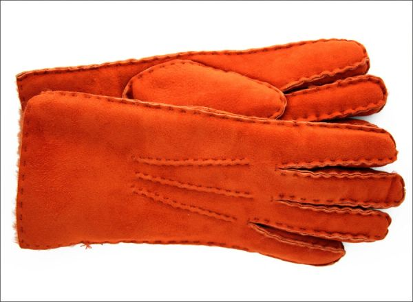 Classic Burnt Orange Sheepskin Shearling Gloves