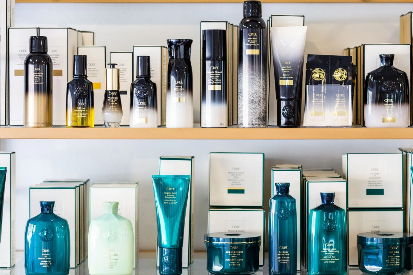 salon hair care product displayed on golden bookcase