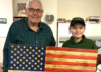 A Beautiful Flag donated  to Bella Vista American Legion with carved stars.