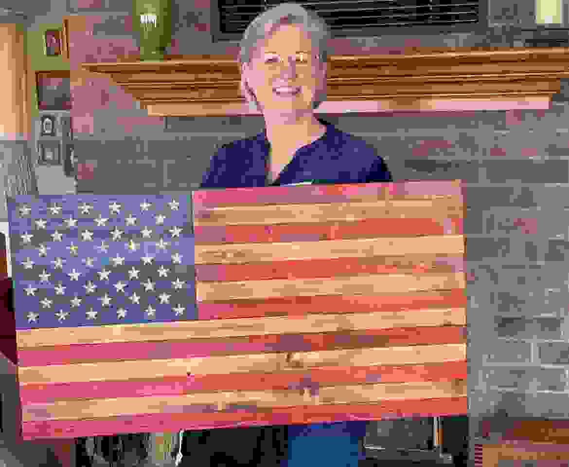 50 Star Rustic American wooden flag with carved stars