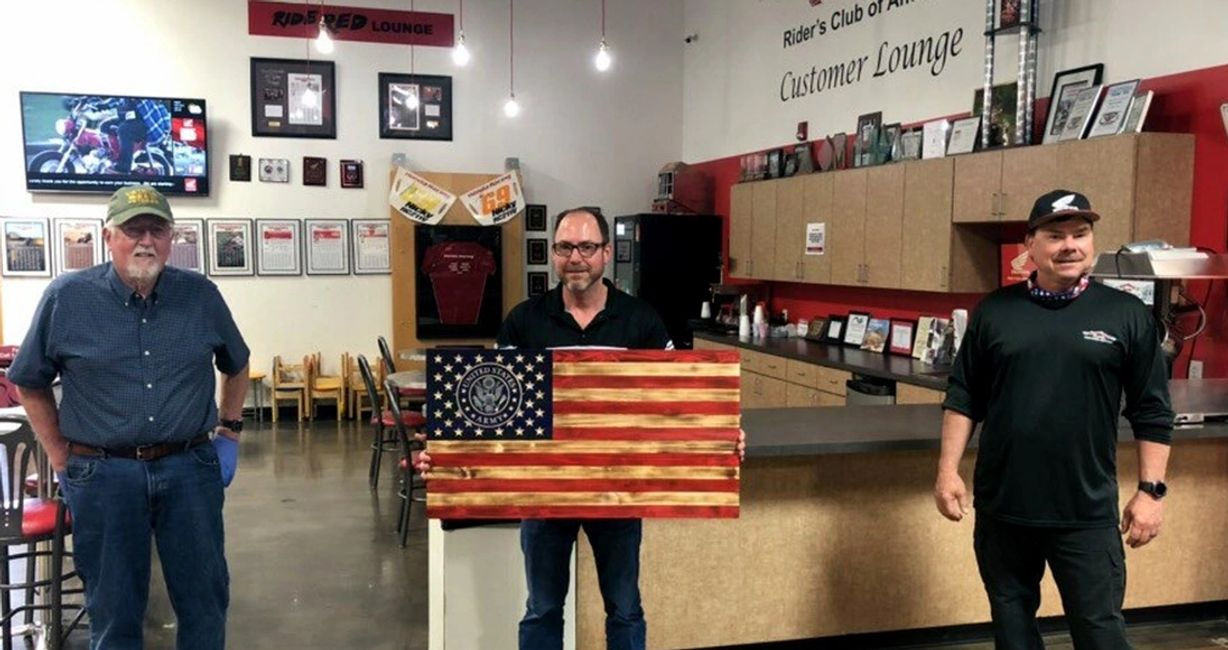 US ARMY Wooden FLAG AT HEARTLAND HONDA, SPRINGDALE, ARKANSAS,