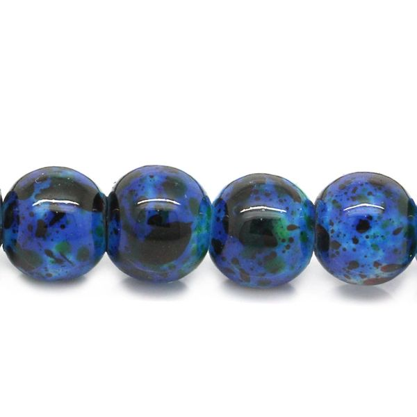 The Bead and Button Box - 45g Dark Blue Colour Glass Marbled Beads 6mm. Ideal for Jewellery Making, Decoration and other Crafts.