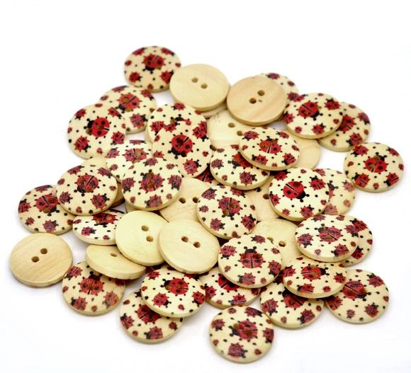 20 Wooden Lady bird - Lady Bug Buttons. 18mm. Great for sewing, card making, home decor, scrap book and other crafts