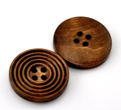 The Bead and Button Box - 10 Wooden Concentric Circle Design Chestnut Brown Buttons 25mm