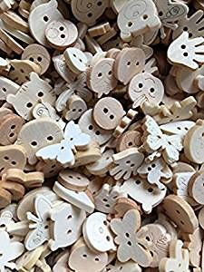 The Bead and Button Box - 25g Natural Wooden Mixed Design Buttons. 13 - 18mm. Bones, stars, cars, cats, trains and lots more. Ideal for Sewing Embellishment, card making, scrapbook and other Crafts. …