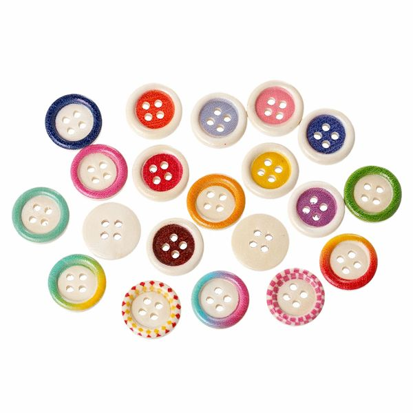 The Bead and Button Box - 25 Assorted Colour and Design Wooden 2 holes Wooden Sewing Buttons. 15mm. Ideal for Sewing Embellishment, card making, scrapbook and other Crafts. …