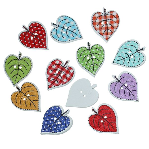 The Bead and Button Box - 10 Assorted Summer Leaves Buttons 24mm