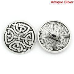 The Bead and Button Box - 6 Antique Silver Coloured Carved Knot Design Metal Buttons. 17mm. Ideal for sewing, scrapbook, crafts and home decor projects. …