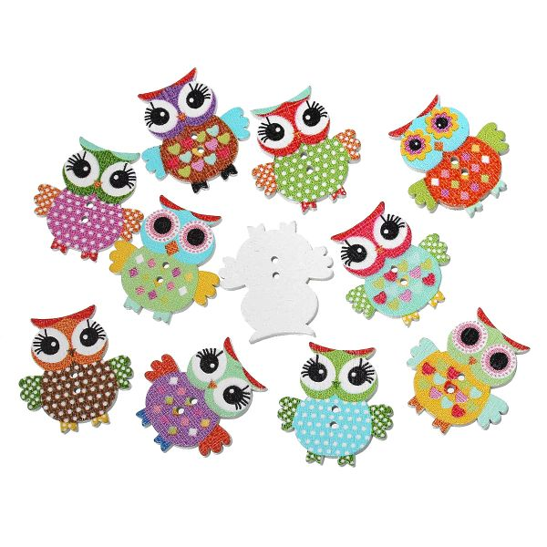 The Bead and Button Box - 10 Brightly Coloured Wooden Owl Buttons. Mixed Pack of Colours. 21 x 17mm. Ideal for sewing, card making, crafts, home decor and other projects.