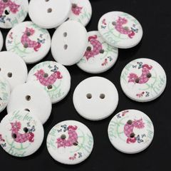 The Bead and Button Box - 10 wooden Rocking Horse buttons, 15mm. Ideal for babies clothes, sewing, knitting, card making, scrapbook and lots of other craft projects