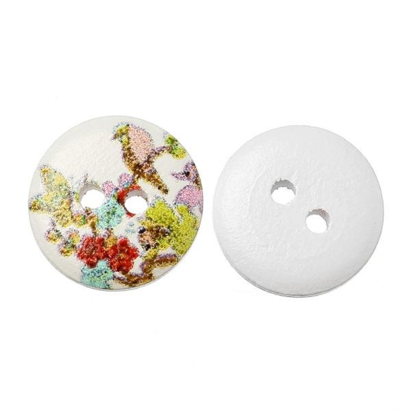 The Bead and Button Box - 10 Wooden Bird in a tree Design Buttons, 15mm. Ideal for babies clothes, sewing, knitting, card making, scrapbook and lots of other craft projects