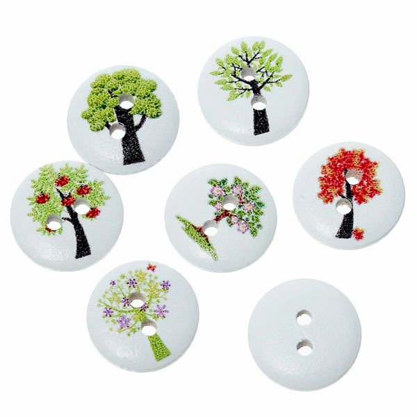 The Bead and Button Box - 10 wooden Assorted Tree Design Buttons, 15mm. Ideal for babies clothes, sewing, knitting, card making, scrapbook and lots of other craft projects