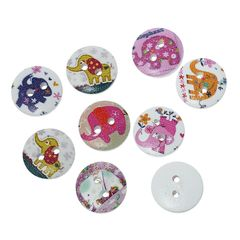 The Bead and Button Box - 10 wooden Assorted Elephant Design buttons, 15mm. Ideal for babies clothes, sewing, knitting, card making, scrapbook and lots of other craft projects