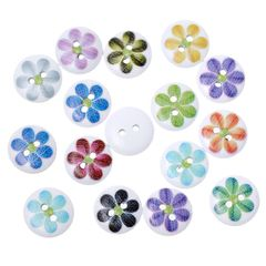 The Bead and Button Box - 10 wooden Assorted Flower Design buttons, 15mm. Ideal for babies clothes, sewing, knitting, card making, scrapbook and lots of other craft projects