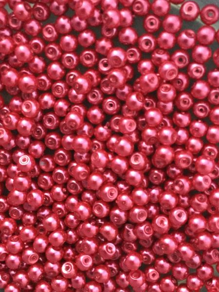 400 Hot Pink Glass Pearl Beads 4mm. Jewellery making, sewing.