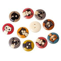 The Bead and Button Box - 10 Wooden Brightly Coloured Cat Buttons. Random mix of designs. 15mm, Ideal for sewing, knitting, button art, card making and craft accessories.