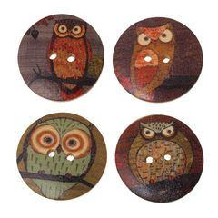 "The Bead and Button Box - 6 Wooden Colourful Owl Buttons. Random mix of designs. 30mm- 3cm -(1 1/8""), Ideal for sewing, knitting, button art, card making and craft accessories."