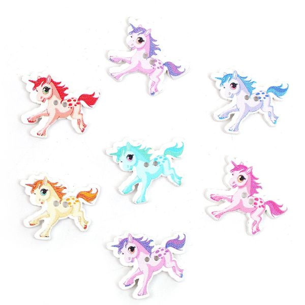 The Bead and Button Box - 10 pretty unicorn wooden buttons. Random mix of colours. 33 x 28mm. Ideal for sewing, knitting, button art, card making and craft accessories.
