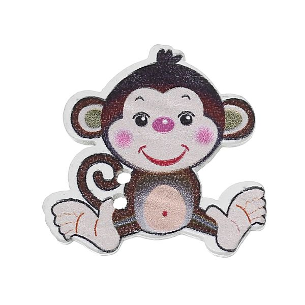 10 Wooden Cheeky Monkey Buttons 28mm