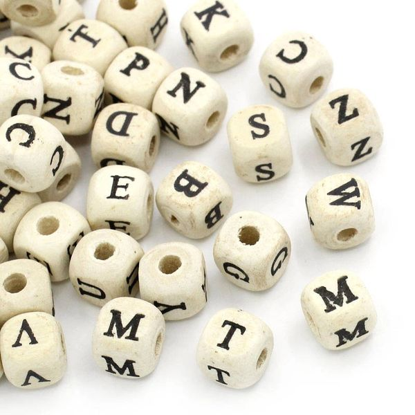 The Bead and Button Box - 50 Wooden Cube Alphabet Beads. 10mm. Ideal for Jewellery, Names, handbag charms, dangles on baby dummys and lots of other craft projects