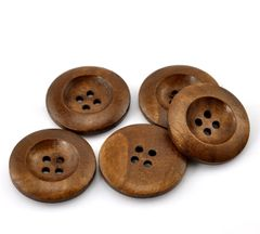 The Bead and Button Box - 6 Wooden Classic Chestnut Colour Sewing Buttons 25mm. Great for Sewing, Knitting, Scrapbook and other Craft Projects
