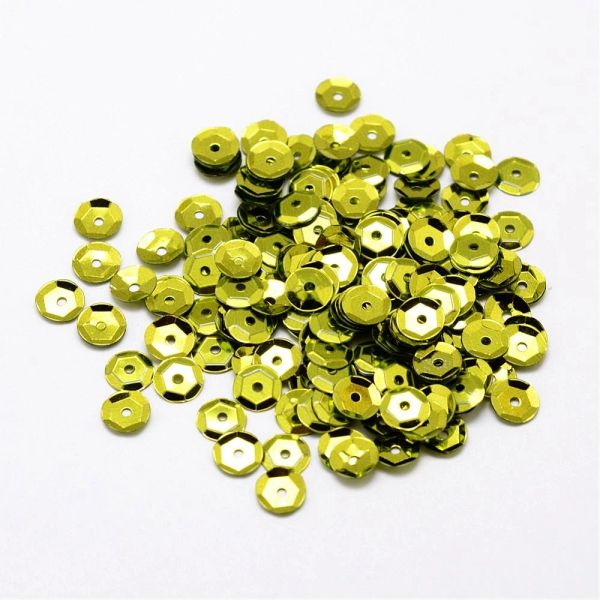 The Bead and Button Box - 15g Pack of Lime Green Cupped Sequins 7mm. Great for sewing, decorations, scrapbook, confetti, cards and other Crafts