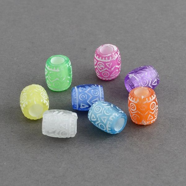 The Bead and Button Box - 100 Acrylic Assorted coloured Transparent Barrel Beads. 9 x 8mm. Hole size 4mm Ideal for jewellery making, bracelets, necklace, and other crafts