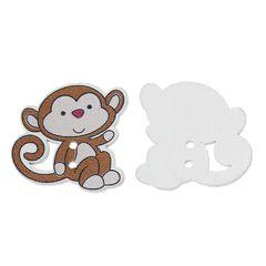 10 Wooden Laid back Monkeys 29mm