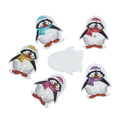 10 Wooden Penguin Buttons, Assorted Colours 29mm