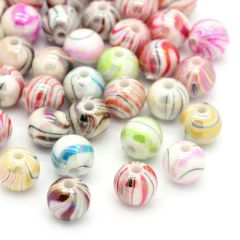 100 Acrylic Stripey and Swirly Beads. 8mm
