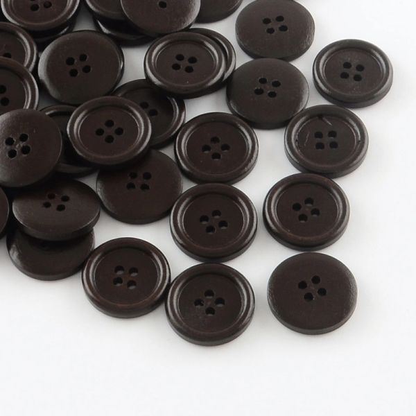 The Bead and Button Box - 10 Very Dark Brown Wooden Round, four hole Buttons. 20mm. Ideal for sewing, Knitting, Card making, Scrapbook and other crafts