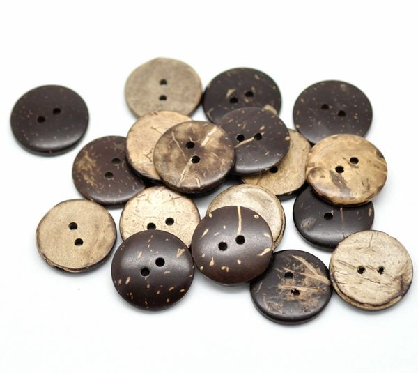 The Bead and Button Box - 10 Coconut shell Buttons 20mm. Sewing, Crafts, Scrap book