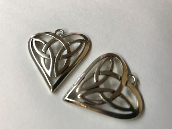 "The Bead and Button Box - 2 Pendants Heart Antique Silver Tone Celtic Knot 31mm(1 2/8"") x 29mm(1 1/8""),"
