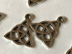 """The Bead and Button Box - 10 Zinc Based Alloy Charms Celtic Knot, Antique Silver tone. 15mm( 5/8"""") x 17mm( 5/8"""")"""