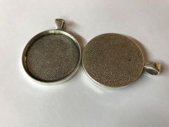 "The Bead and Button Box - 2 Zinc Based Alloy Cabochon Setting Pendants, Round, Antique Silver (Fits 30mm Dia) 4.1cm(1 5/8"") x 3.3cm(1 2/8""),"