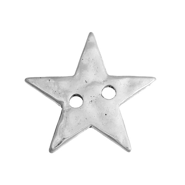 The Bead and Button Box - 6 Hammered Metal five pointed stars - Pentagram. Antique Silver in Colour. 20 x 21mm. Ideal for Sewing, knitting, scrapbooking, card making, embellishment and other crafts