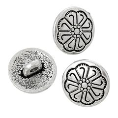 The Bead and Button Box -10 Metal Sewing Shank Buttons, Round Antique Silver Flower Carved Design. 12mm. Ideal for Sewing, knitting, scrapbooking, card making, embellishment and other crafts
