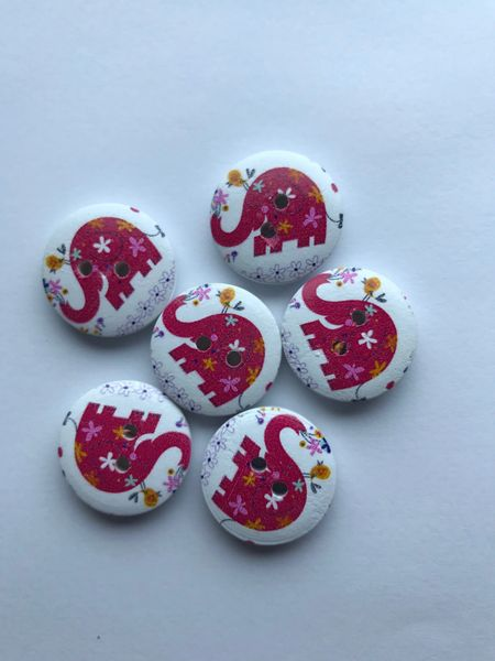 The Bead and Button Box - Pack of 6 Red Elephant Buttons. Wooden with Varnish finish. 20mm. Suitable for sewing, knitting, card making, button art, home decor and other craft projects