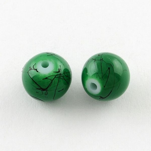 The Bead and Button Box - 130+ Green Colour Glass Drawbench Marbled Beads 6mm. Ideal for Jewellery Making, Decoration and other Crafts.