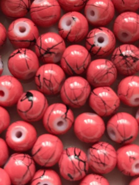 The Bead and Button Box - 130+ Salmon Colour Glass Drawbench marbled Beads 6mm. Ideal for Jewellery Making, Decoration and other Crafts.