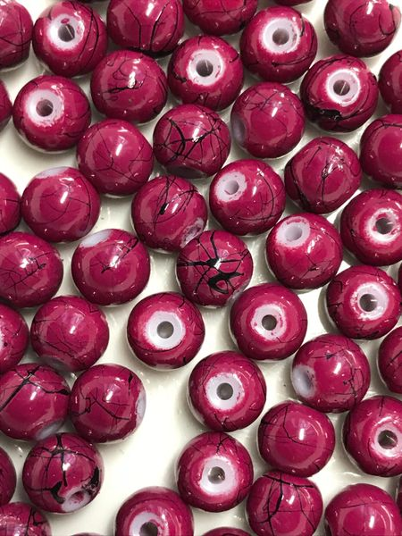 The Bead and Button Box - 130+ Purple Colour Glass Drawbench Marbled Beads 6mm. Ideal for Jewellery Making, Decoration and other Crafts.