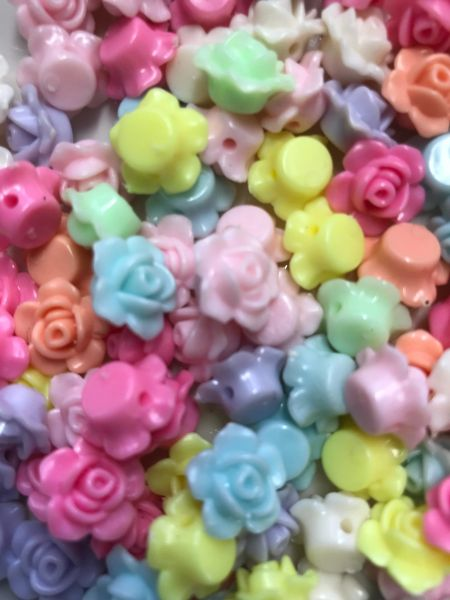 The Bead and Button Box. 50 Acrylic Assorted Opaque Transparent Flower Beads. 13 x 8mm. Hole size 2mm Ideal for jewellery making, bracelets, necklace, and other crafts