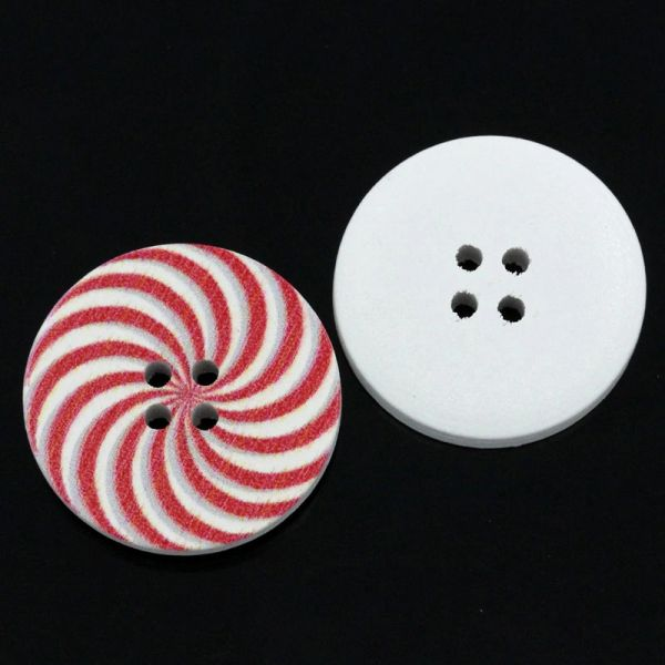 The Bead and Button Box - 10 Wooden Red & White Swirly Design Buttons 30mm