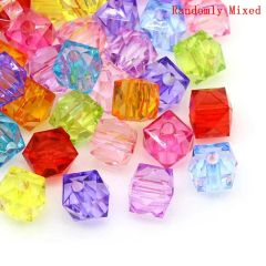 The Bead and Button ~ 100 Transparent square faceted beads 8mm. Ideal for jewellery making, bracelets, necklace, and other crafts