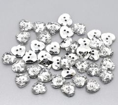 25 Acrylic Silver Backed Crystal Heart Shaped Buttons 13mm