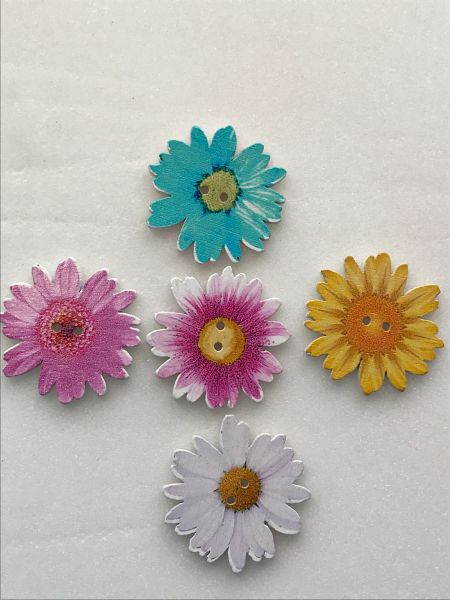 The Bead and Button Box. 5 assorted Colour Large Wooden Sunflower, Chrysanthemum Flower Buttons. 34mm. Great for card making, sewing and other craft projects. …