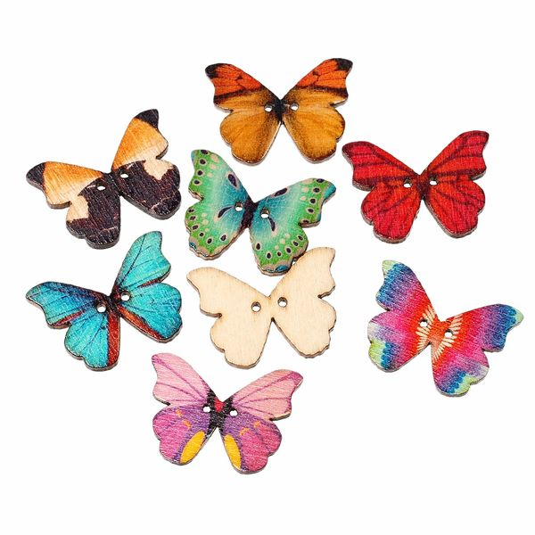 10 Bright Coloured Wooden Butterfly Buttons Two Holes 28mm