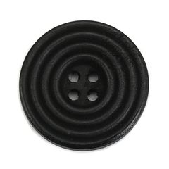 The Bead and Button Box - 6 Wooden Black Circled Sewing Buttons 25mm. Great for Sewing, Knitting, Scrapbook and other Craft Projects