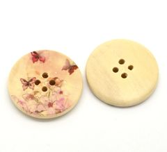 The Bead and Button Box - 10 Tiny Butterfly and flower Wooden Buttons. 30mm. Great for sewing, home decor, Button art, knitting, crochet, Card making and other crafts