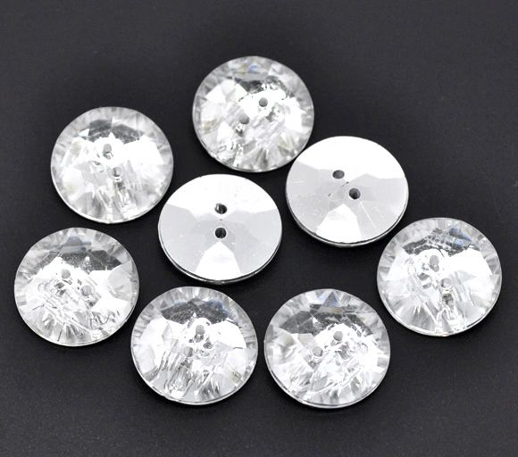 10 Acrylic Silver Backed Crystal Round Buttons 18mm